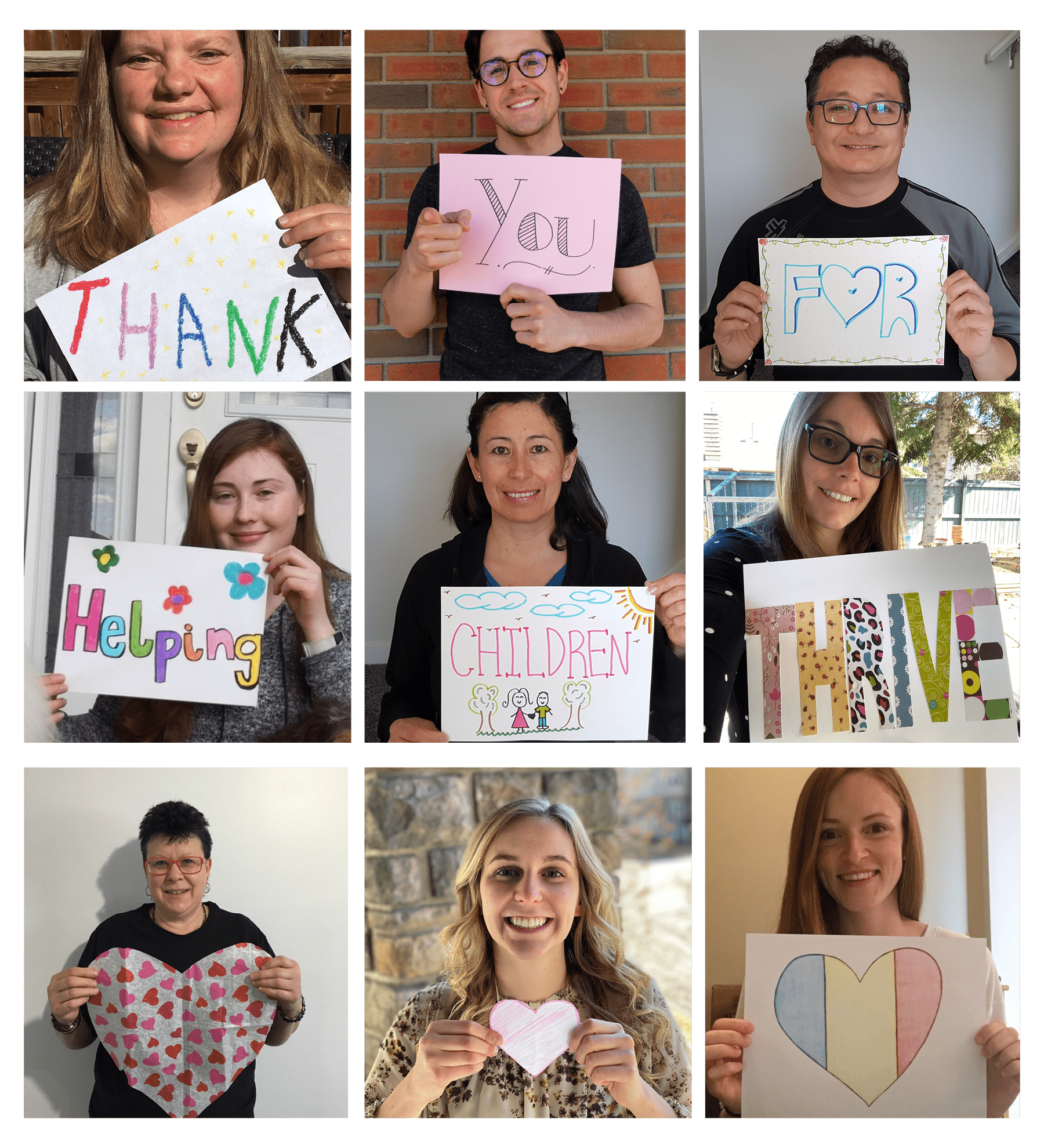 "Collage of people with the words ""Thank You for Helping Children Thrive"""
