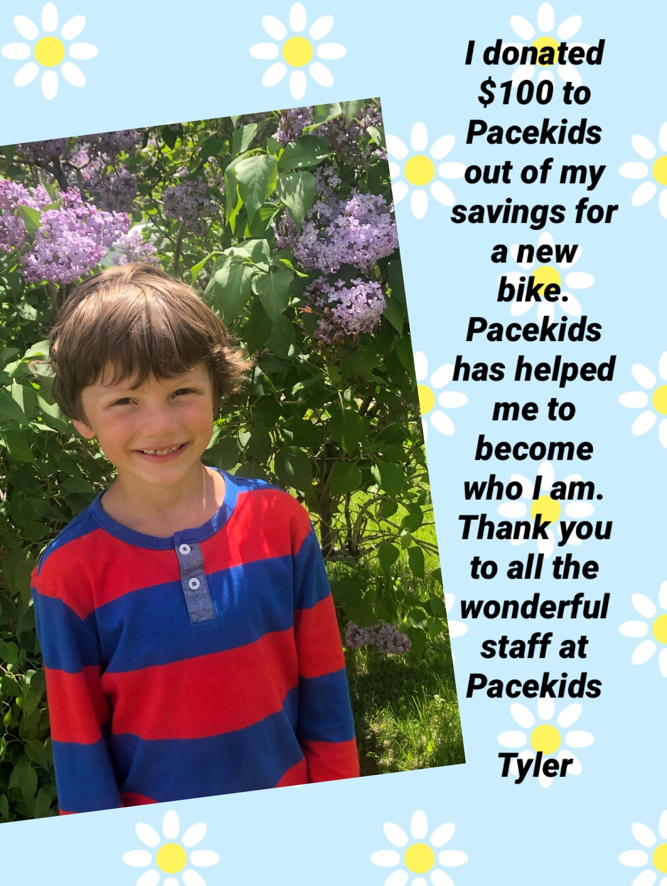 Tyler, Pacekids' Alumni from Special needs School