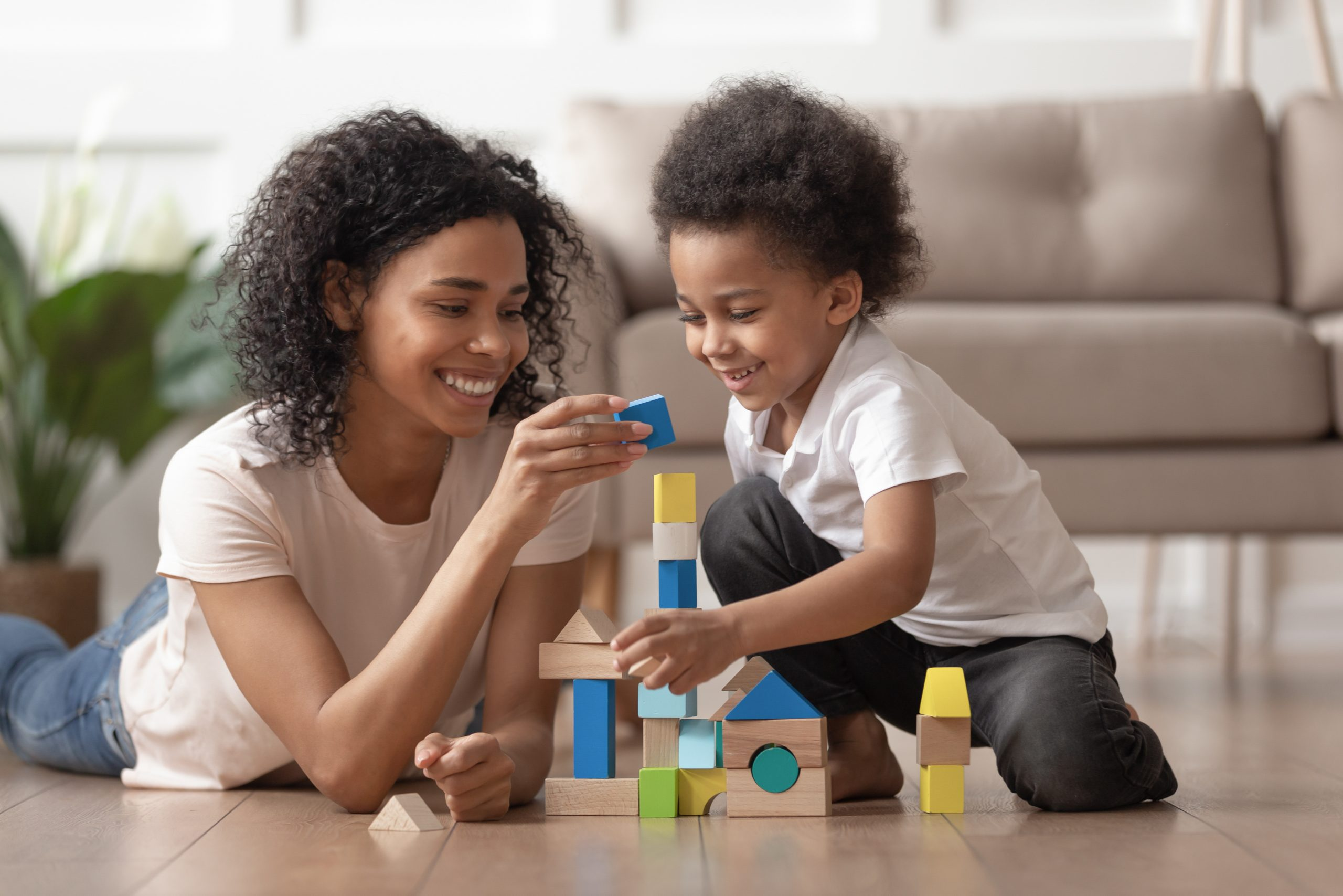 Woman with special needs child at home