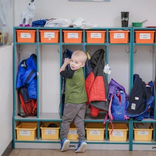 Little boy going to locker